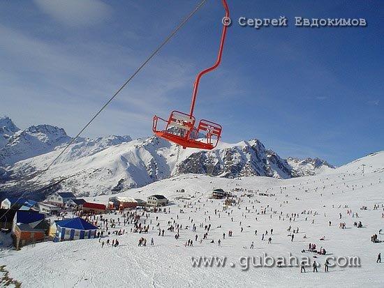 Губаха photo13.jpg Домбай - январь 2006 Горнолыжный центр Губаха горные лыжи сноуборд Город Губаха Фото